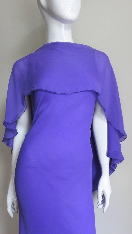Purple 1970s Halston Plunge Back Cape Dress For Sale
