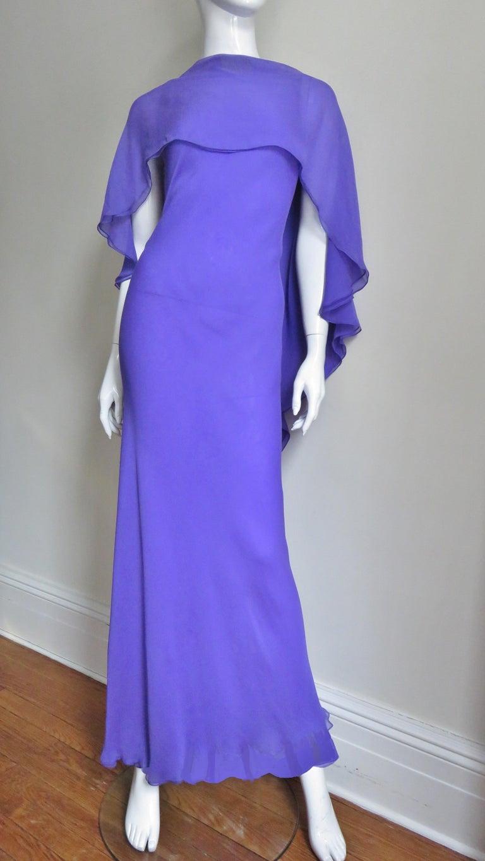 Women's 1970s Halston Plunge Back Cape Dress For Sale