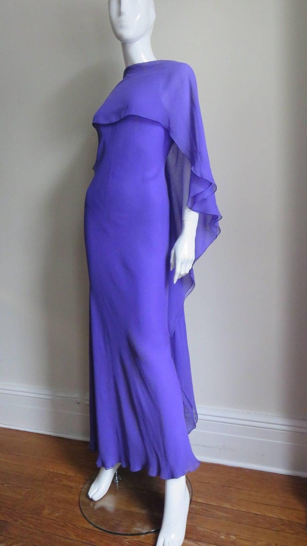 1970s Halston Plunge Back Cape Dress For Sale 1