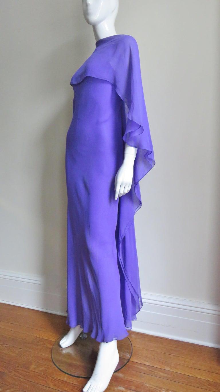 1970s Halston Plunge Back Cape Dress For Sale 2