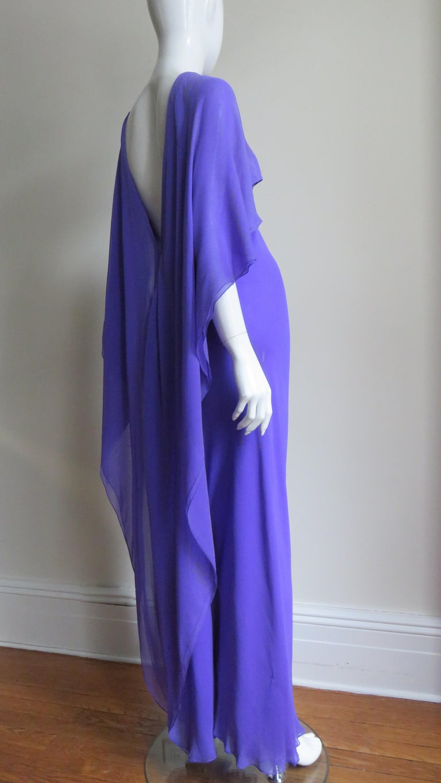 1970s Halston Plunge Back Cape Dress For Sale 3