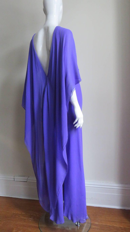 1970s Halston Plunge Back Cape Dress For Sale 4