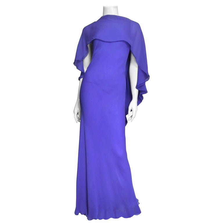 1970s Halston Plunge Back Cape Dress For Sale