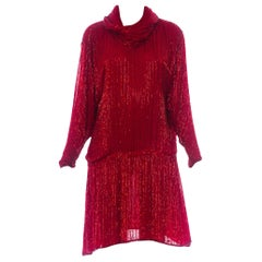 1970S Halston Red Silk Chiffon Oversized Mini Cocktail Dress Covered In Bugle Be