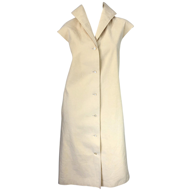 1970s Halston Tan Sand Ultra Suede Sleeveless Vintage 70s Shirt Dress