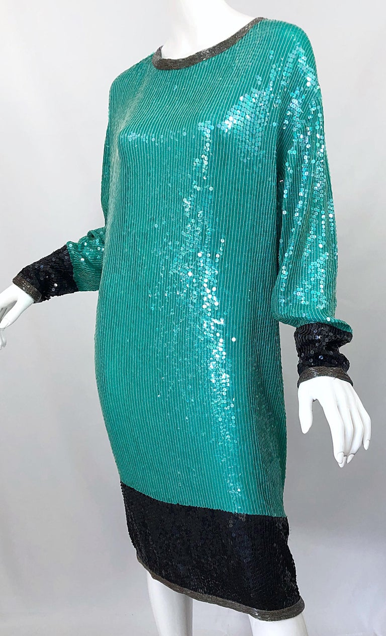 1970s HALSTON Teal Blue / Green + Black Sequined Beaded Dolman Sleeve Silk Dress For Sale 6