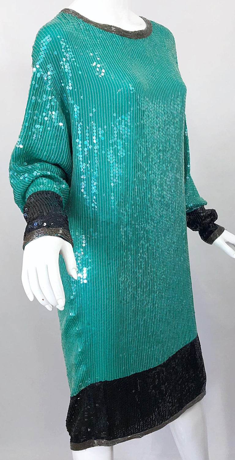 1970s HALSTON Teal Blue / Green + Black Sequined Beaded Dolman Sleeve Silk Dress For Sale 8