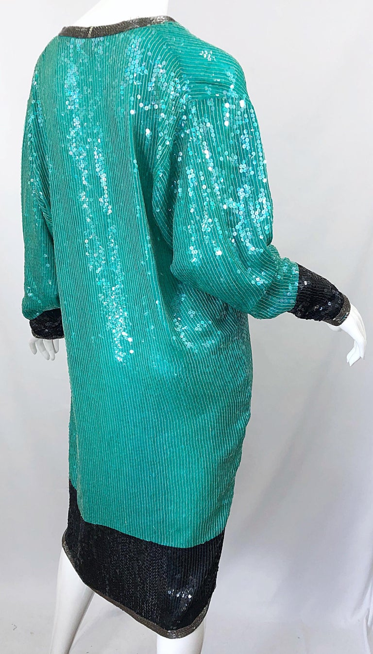 1970s HALSTON Teal Blue / Green + Black Sequined Beaded Dolman Sleeve Silk Dress For Sale 9