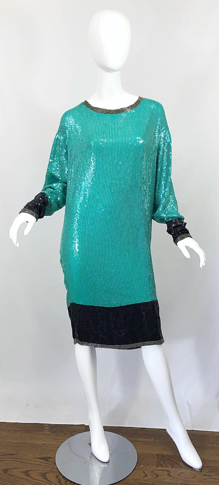 1970s HALSTON Teal Blue / Green + Black Sequined Beaded Dolman Sleeve Silk Dress For Sale 11