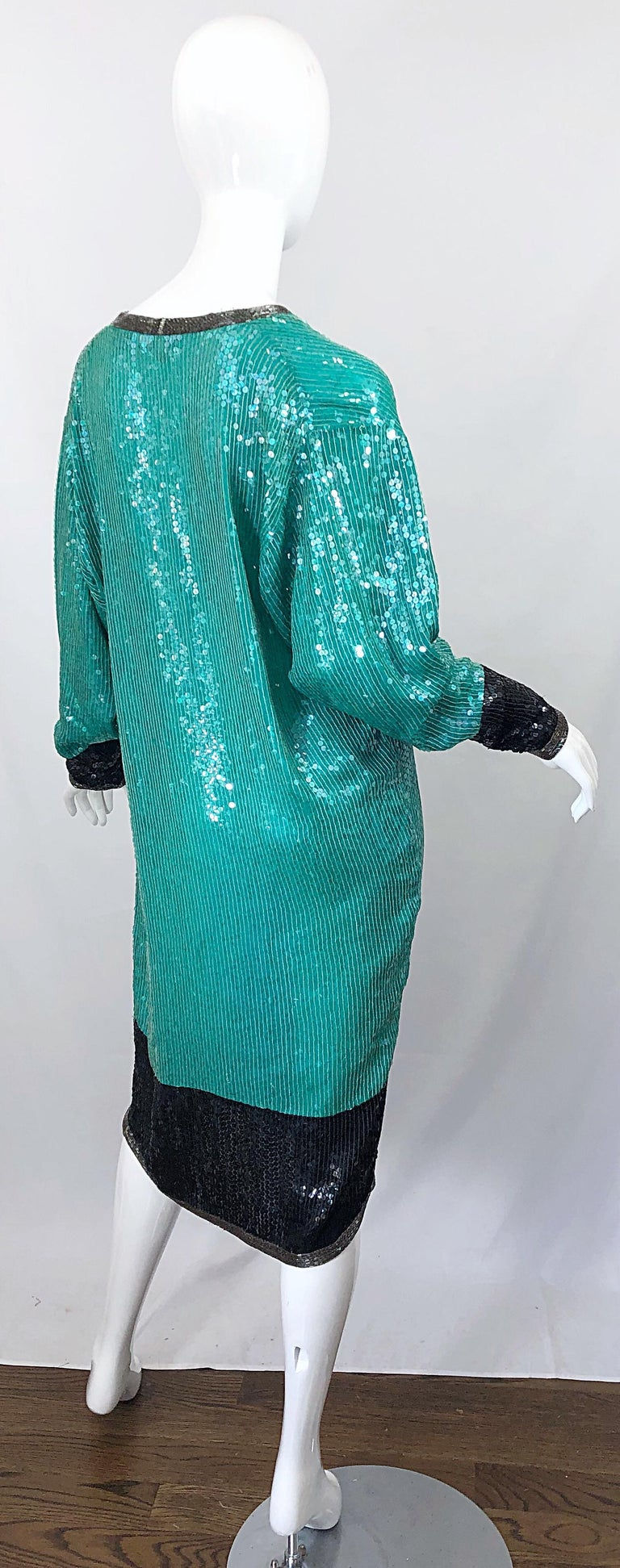 Women's 1970s HALSTON Teal Blue / Green + Black Sequined Beaded Dolman Sleeve Silk Dress For Sale