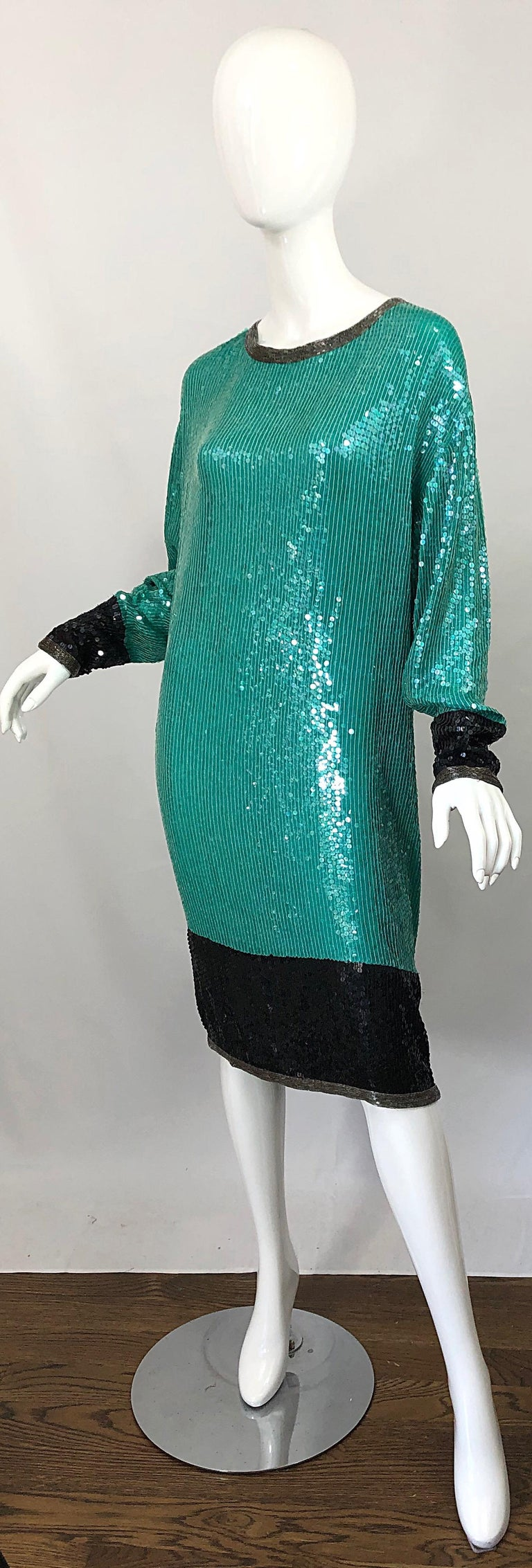 1970s HALSTON Teal Blue / Green + Black Sequined Beaded Dolman Sleeve Silk Dress For Sale 1
