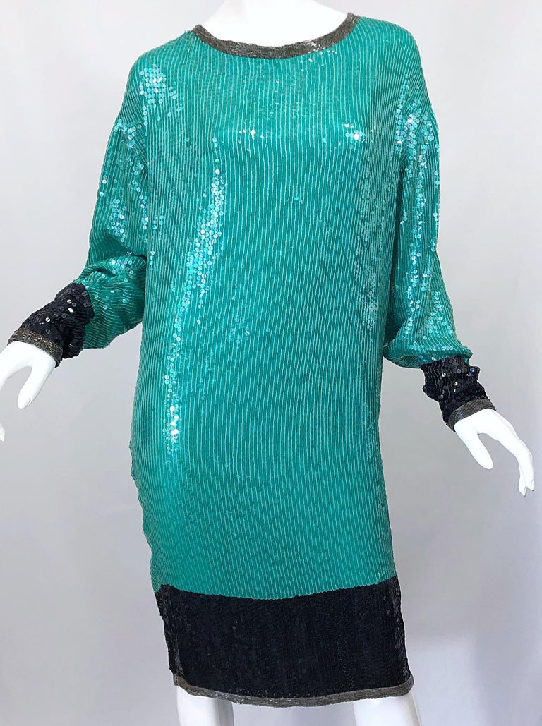 1970s HALSTON Teal Blue / Green + Black Sequined Beaded Dolman Sleeve Silk Dress For Sale 2