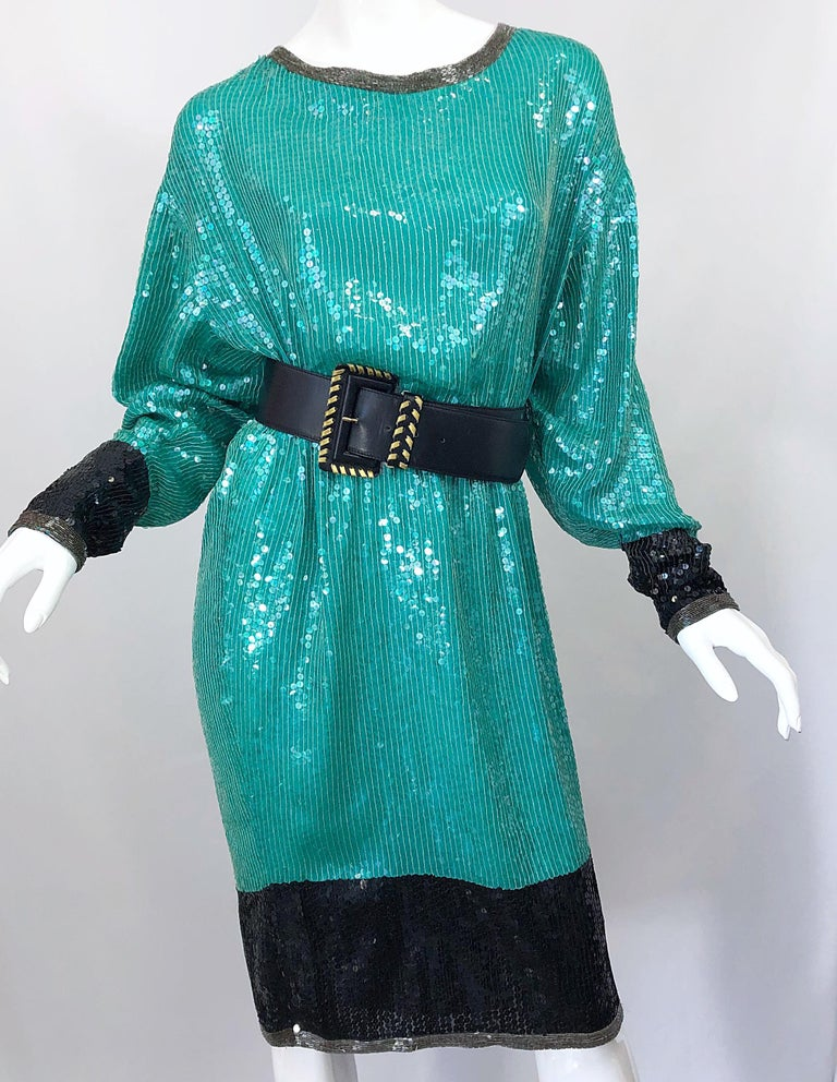 1970s HALSTON Teal Blue / Green + Black Sequined Beaded Dolman Sleeve Silk Dress For Sale 3