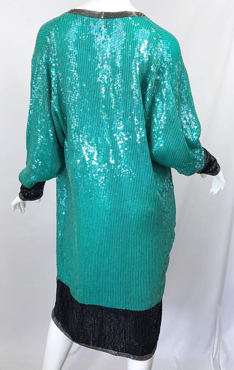1970s HALSTON Teal Blue / Green + Black Sequined Beaded Dolman Sleeve Silk Dress For Sale 4