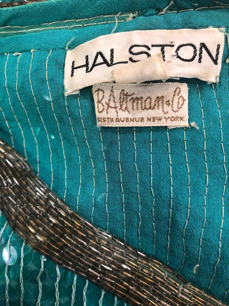 1970s HALSTON Teal Blue / Green + Black Sequined Beaded Dolman Sleeve Silk Dress For Sale 5