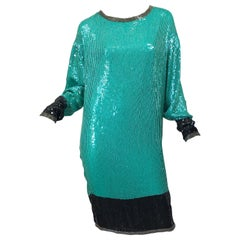 1970s HALSTON Teal Blue / Green + Black Sequined Beaded Dolman Sleeve Silk Dress
