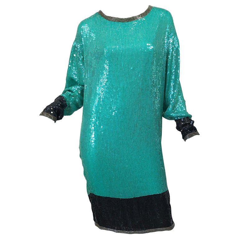 1970s HALSTON Teal Blue / Green + Black Sequined Beaded Dolman Sleeve Silk Dress For Sale