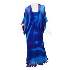 1970s Halston Tie Dyed Blue Silk Chiffon Vintage 70s Gown and Jacket Ensemble