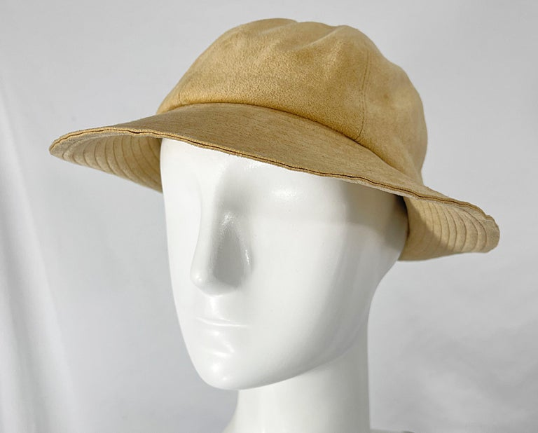 1970s Halston Ultra Suede Tan Brown Vintage 70s Fedora Hat For Sale 5