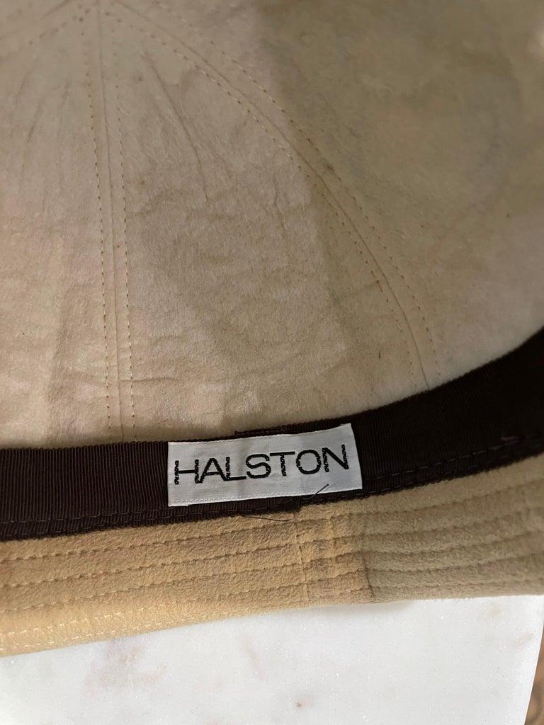 Beige 1970s Halston Ultra Suede Tan Brown Vintage 70s Fedora Hat For Sale