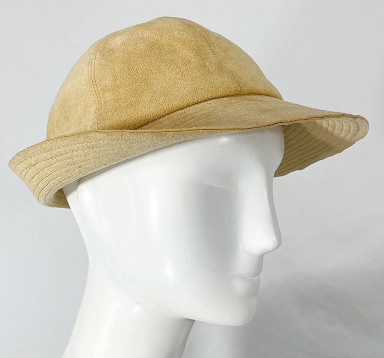 Women's 1970s Halston Ultra Suede Tan Brown Vintage 70s Fedora Hat For Sale