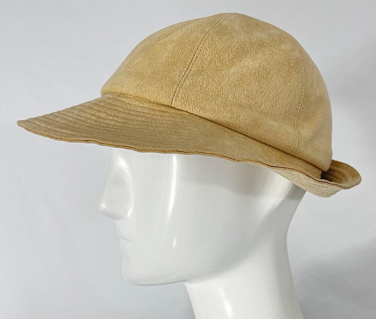 1970s Halston Ultra Suede Tan Brown Vintage 70s Fedora Hat For Sale 1