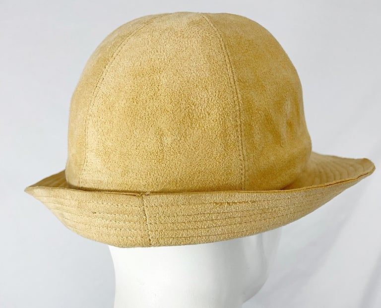 1970s Halston Ultra Suede Tan Brown Vintage 70s Fedora Hat For Sale 2