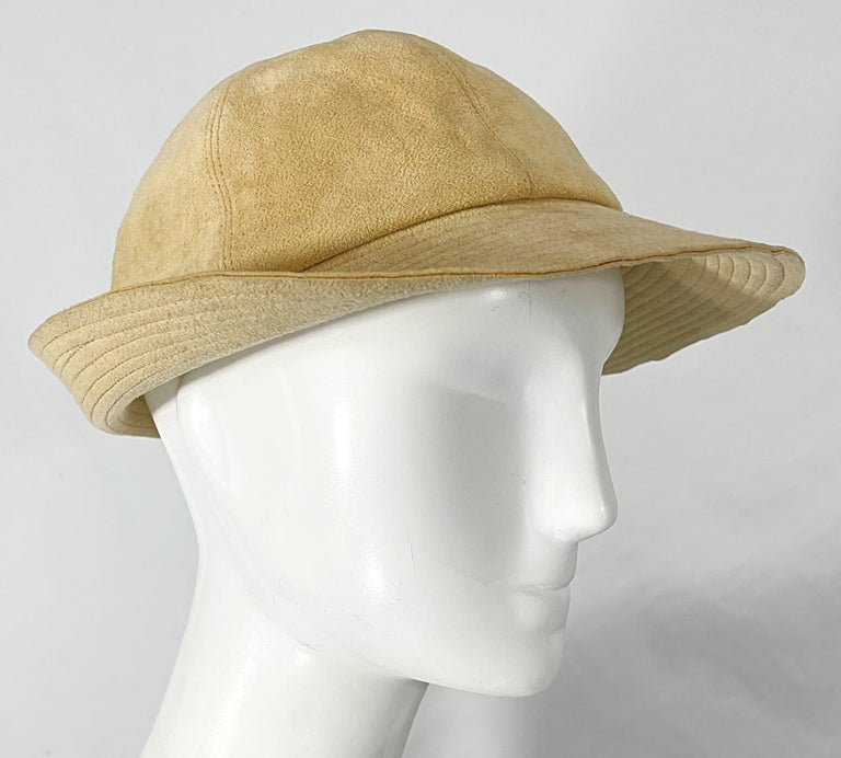 1970s Halston Ultra Suede Tan Brown Vintage 70s Fedora Hat For Sale 3