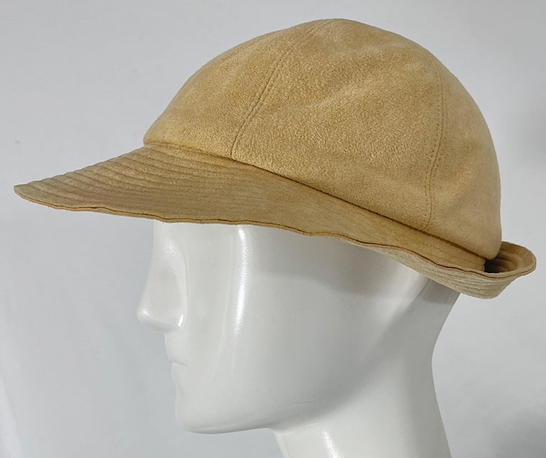1970s Halston Ultra Suede Tan Brown Vintage 70s Fedora Hat For Sale 4