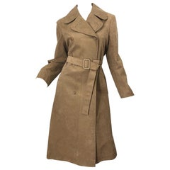 1970s Halston Ultrasuede Khaki Brown Double Breasted Vintage Spy Trench Jacket