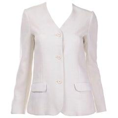 1970s Halston Vintage Ivory Linen Button Front Summer Jacket