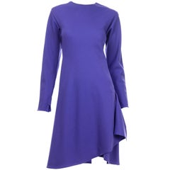 1970s Halston Vintage Purple Jersey Dress  W Asymmetrical Hem