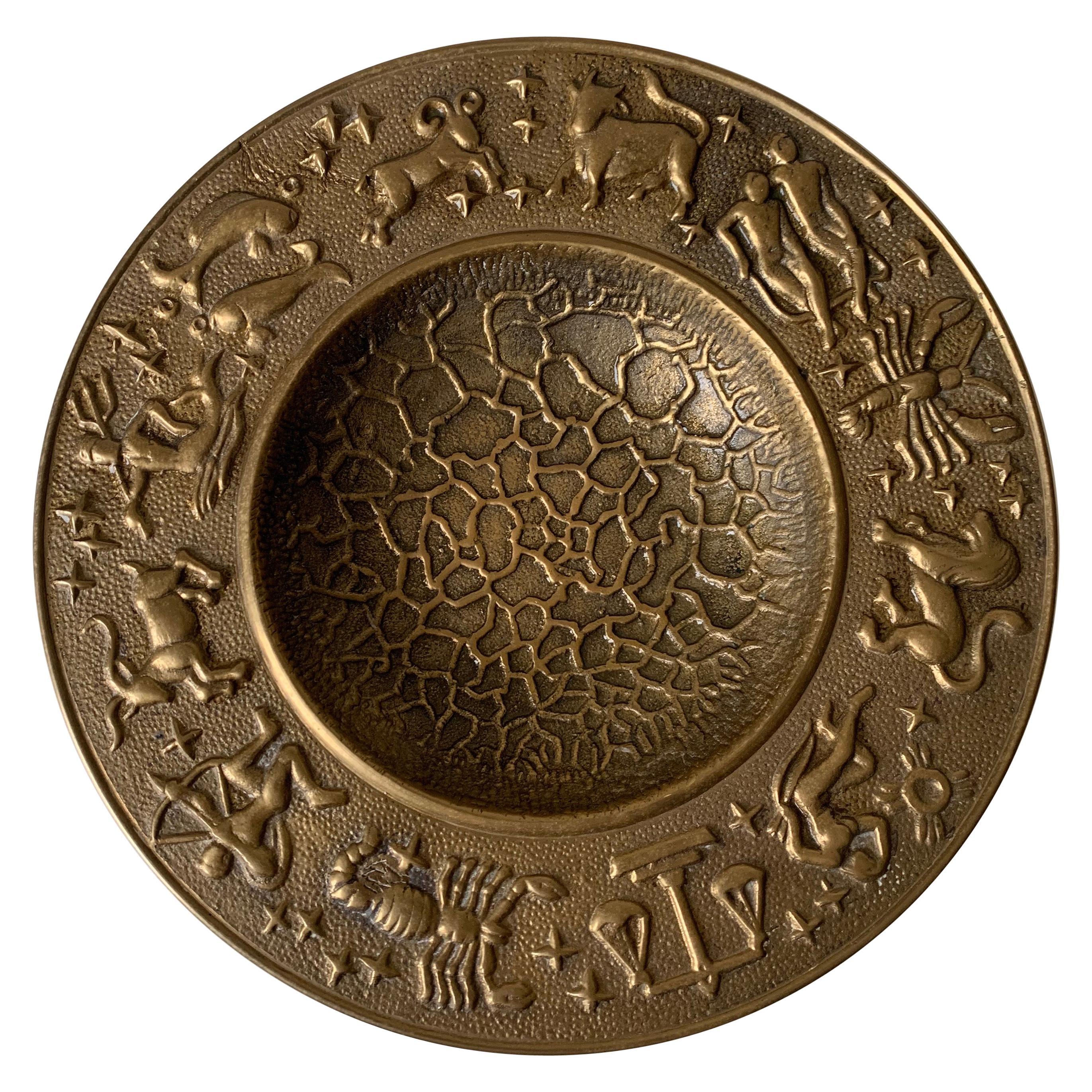 1970s Brass Zodiac Motif Hammered Bowl