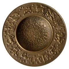 1970s Hammered Brass Zodiac Motif Bowl