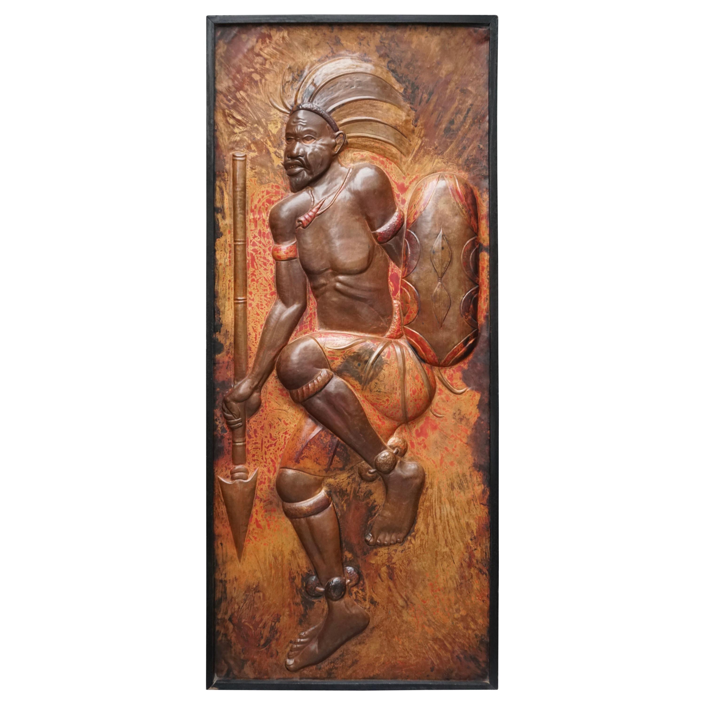 1970s Hammered Copper Wall Art Panel Sculpture of a Dancing Warrior