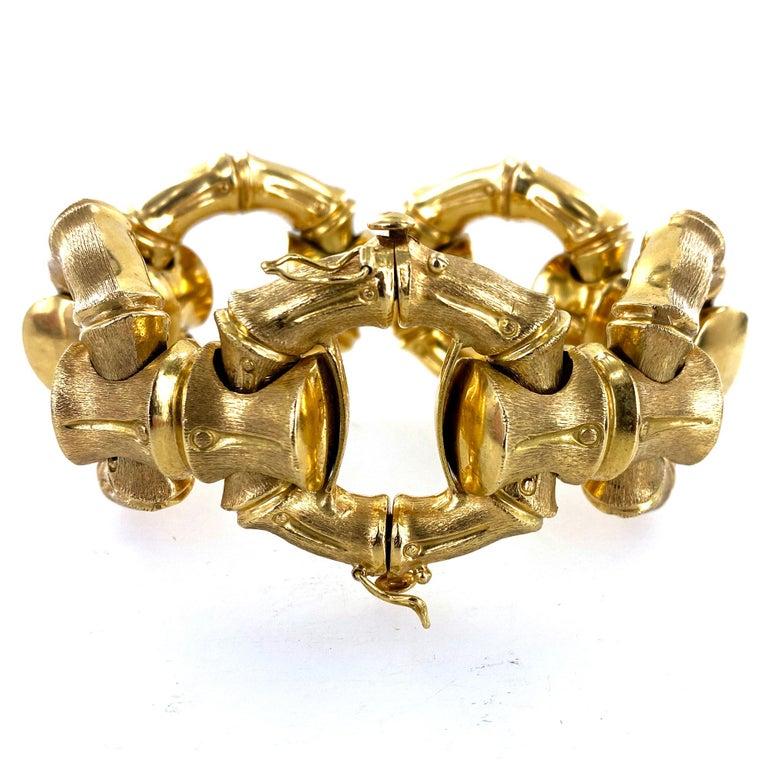 Women's 1970s Hammerman Brothers Bamboo Link 18 Karat Yellow Gold Wide Bracelet For Sale
