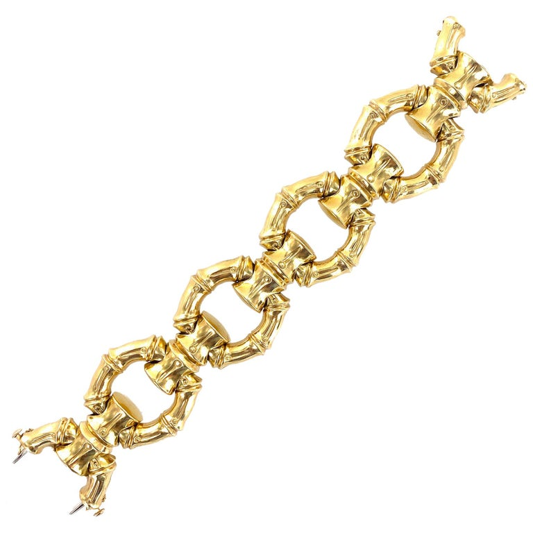 1970s Hammerman Brothers Bamboo Link 18 Karat Yellow Gold Wide Bracelet For Sale