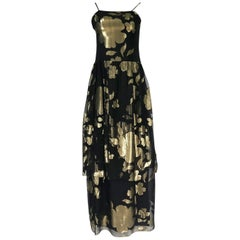 1970s Hanae Mori Couture Gold Lame Thread & Black Silk Chiffon Dress