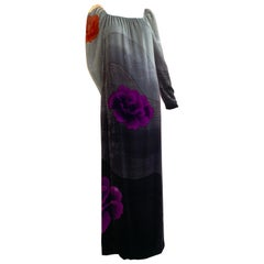 1970s Hanae Mori Hand-Painted Silk Velvet Ombré Gown W/ Purple & Red Peonies