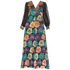 1970's Hand Dyed Velvet & Gold Lurex Empire Waist Fully Lined Dress