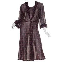 1970S Hand Finished Rayon Chiffon Ruffled Boho Dress