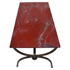 1970s Hand Forged Steel Curule Form Dining Table with Stone Top