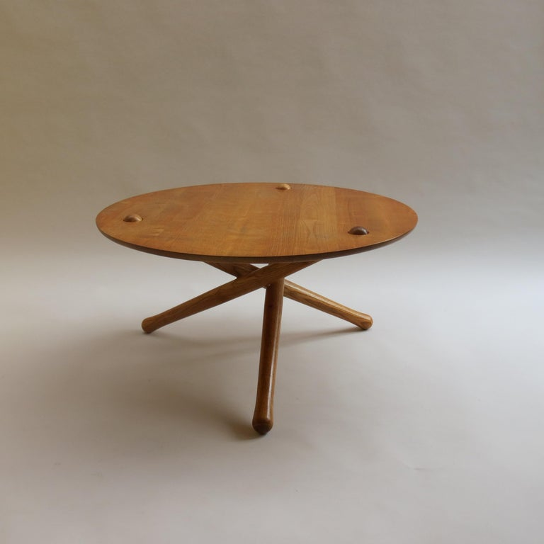 20th Century 1970s Hand Produced Tripod Coffee Table in Ash