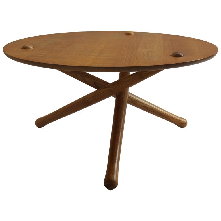 1970s Hand Produced Tripod Coffee Table in Ash