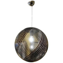 1970s Handblown Venini Style Black Swirled Glass Globe Ceiling Pendant Light