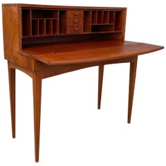 1970s Handcrafted Modernist Mahogany Folding Desk/Foyer Table Watts & Powell