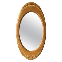 1970s Handmade Oval Swirled Wood Mirror