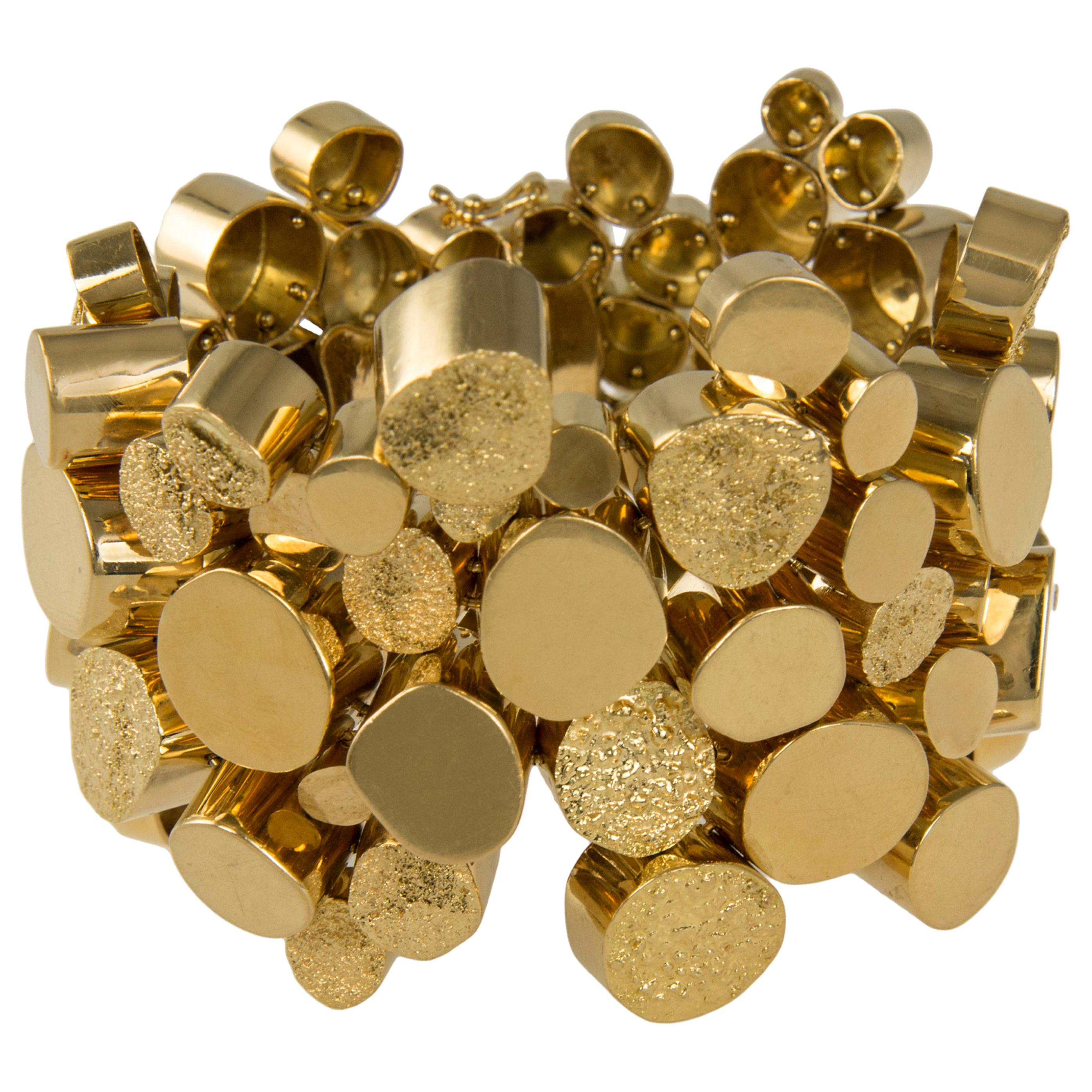 1970s Handmade Textured and Polished Gold Bracelet