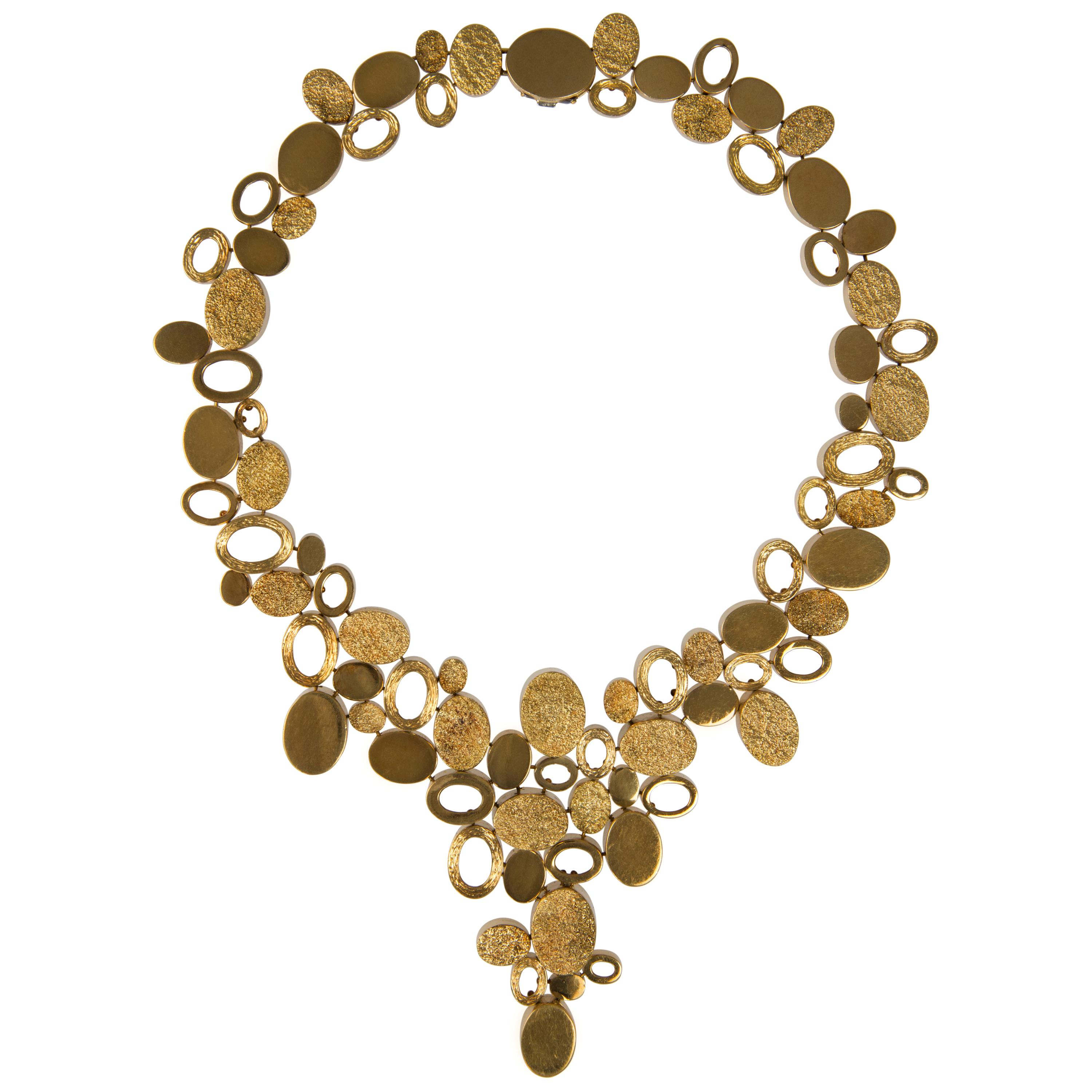1970s Handmade Textured and Polished Gold Necklace