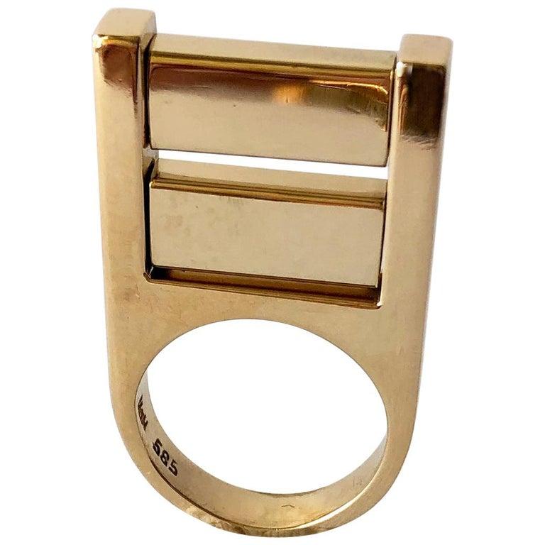 1970s Hans Hansen 14 Karat Yellow Gold Danish Modernist Kinetic Ring For Sale